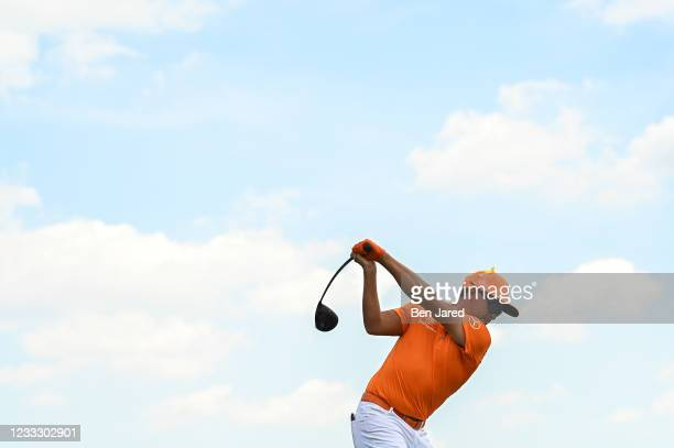 Rickie Fowler swings over his ball on the first tee box during the final round of the Memorial Tournament presented by Nationwide at Muirfield...