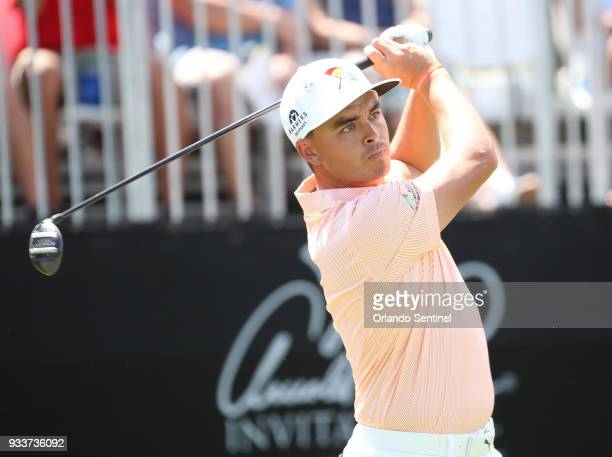 Rickie Fowler tees off during the Arnold Palmer Invitational on Sunday March 18 2018 at Bay Hill Club Lodge in Orlando Fla