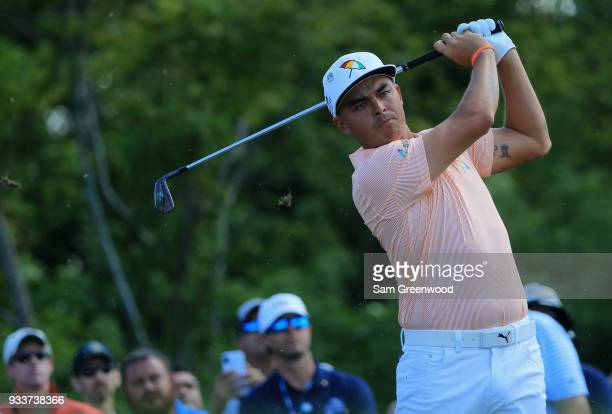 Rickie Fowler tees off during the final round at the Arnold Palmer Invitational Presented By MasterCard at Bay Hill Club and Lodge on March 18 2018...
