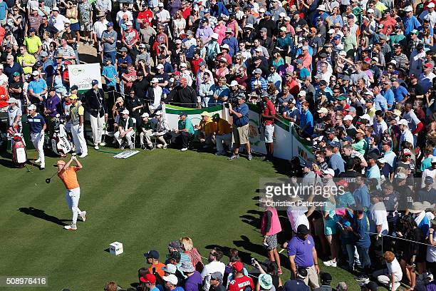 Rickie Fowler tees off on the 11th hole during the final round of the Waste Management Phoenix Open at TPC Scottsdale on February 7 2016 in...