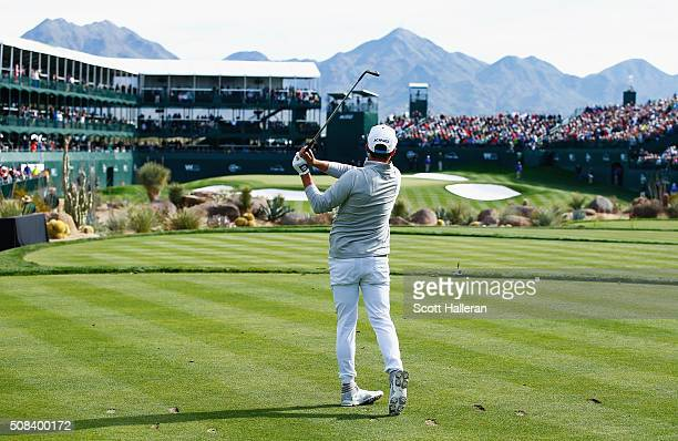 Rickie Fowler tees off on the 16th hole during the first round of the Waste Management Phoenix Open at TPC Scottsdale on February 4, 2016 in...