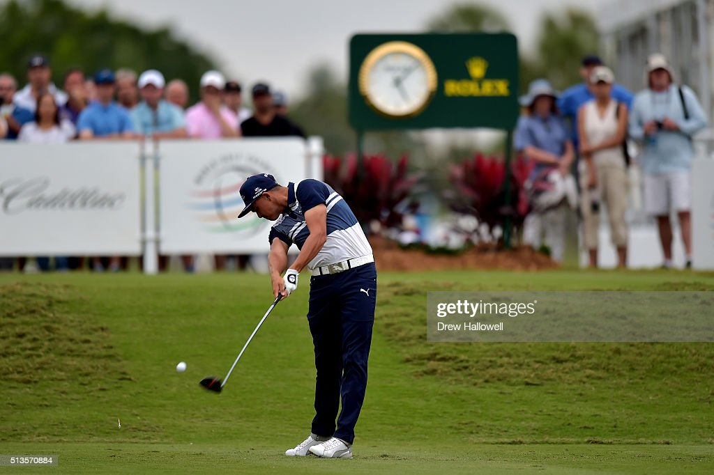 Rickie Fowler tees off on the 18th hole during the first round of the World Golf Championships-Cadillac Championship at Trump National Doral Blue Monster Course on March 3, 2016 in Doral, Florida.