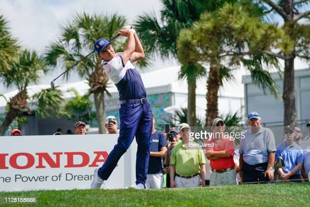 Rickie Fowler tees off on the fourth hole tee box during the first round of The Honda Classic at PGA National Champion course on February 28 2019 in...