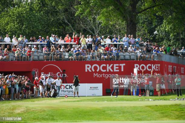 Rickie Fowler tees off on the sixteenth tee box during the second round of the Rocket Mortgage Classic at Detroit Golf Club on June 28, 2019 in...