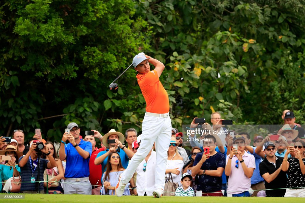 Rickie Fowler the United States plays his shot from the seventh tee during the final round of the OHL Classic at Mayakoba on November 12, 2017 in Playa del Carmen, Mexico.