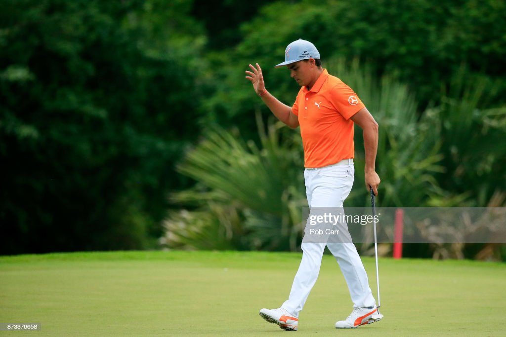 Rickie Fowler the United States reacts on the 17th green during the final round of the OHL Classic at Mayakoba on November 12, 2017 in Playa del Carmen, Mexico.