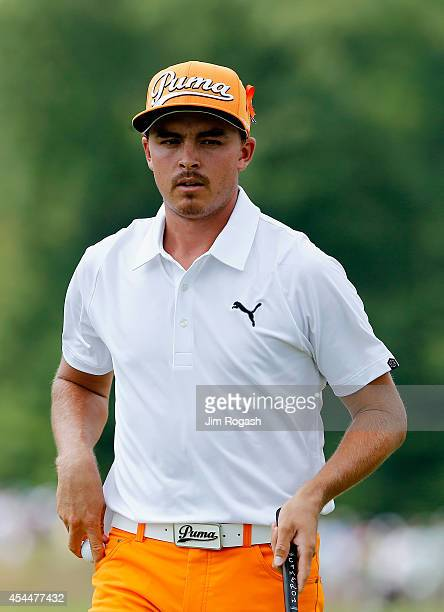 Rickie Fowler walks onto the second hole during the final round of the Deutsche Bank Championship at the TPC Boston on September 1 2014 in Norton...