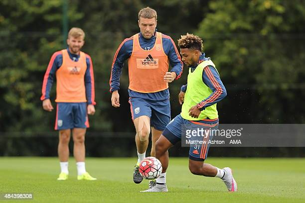 Rickie Lambert and Serge Gnabry of West Bromwich Albion during the West Bromwich Albion training session at West Bromwich Albion Training Ground on...