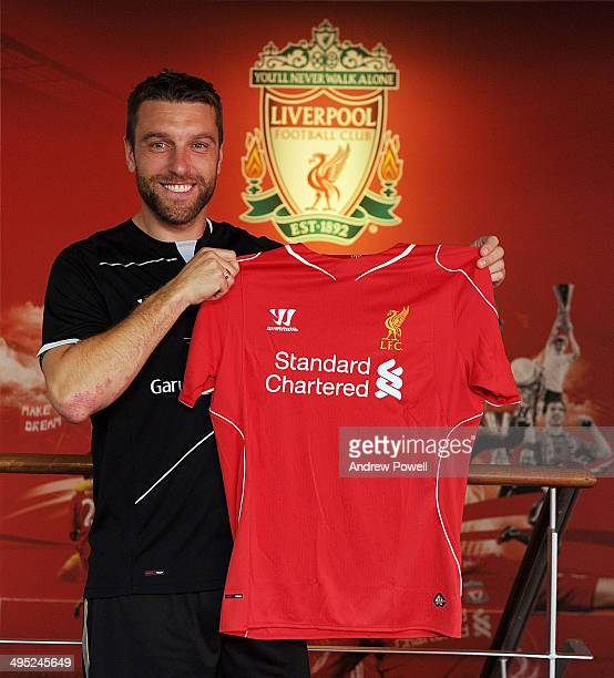 Rickie Lambert new signing for Liverpool poses for a photograph at Melwood Training Ground on May 31 2014 in Liverpool England