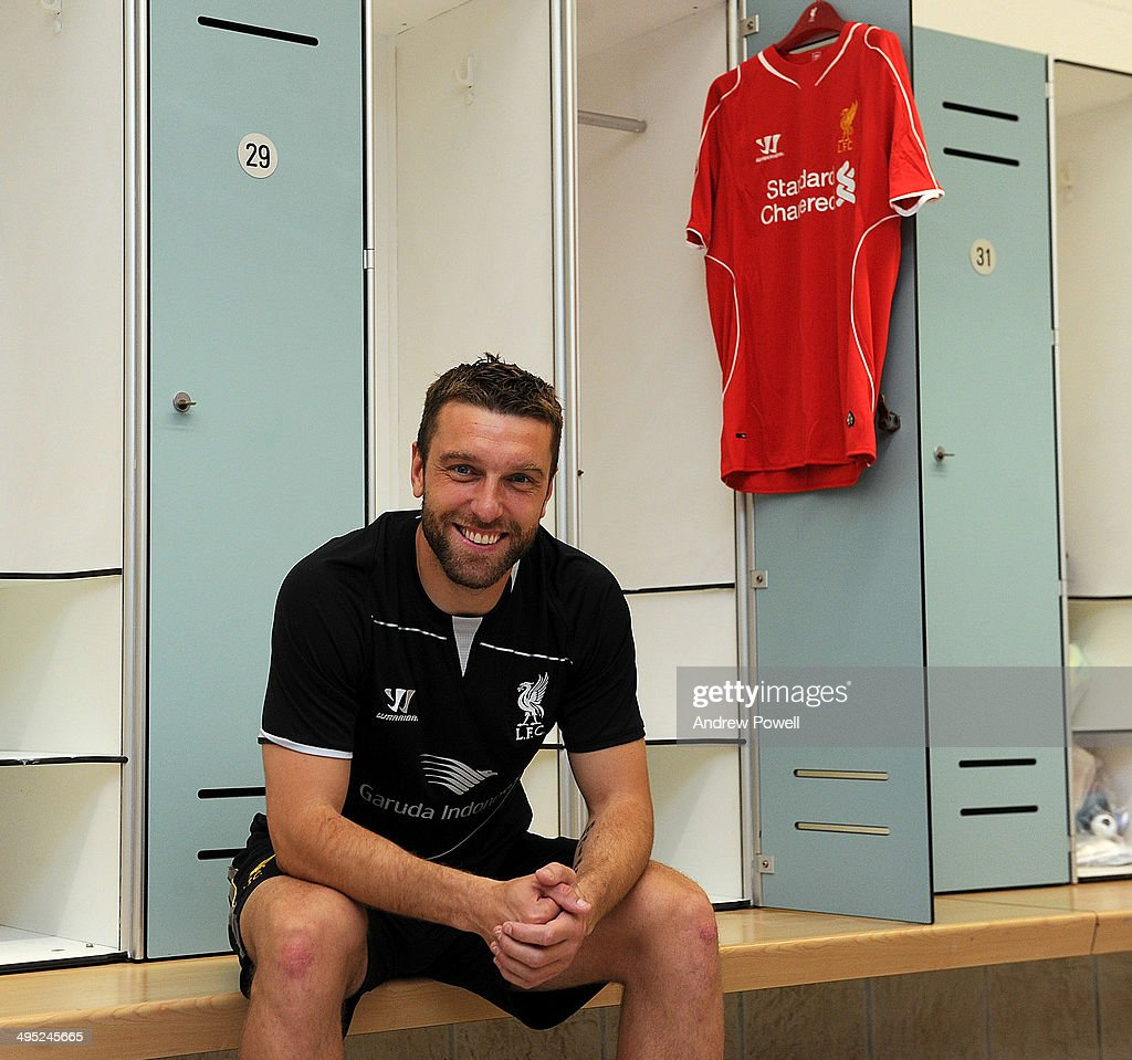 (PREMIUM PRICING APPLIES - MINIMUM PRINT/BROADCAST FEE OF GBP 150, ONLINE FEE OF GBP 75 USE OR LOCAL EQUIVALENT) Rickie Lambert new signing for Liverpool poses for a photograph at Melwood Training Ground on May 31, 2014 in Liverpool, England.