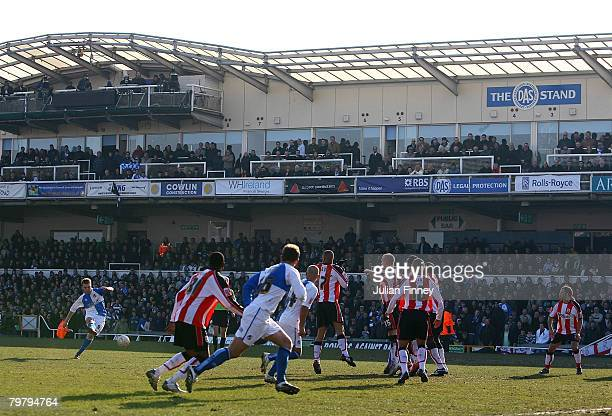 Rickie Lambert of Bristol Rovers takes the free kick that leads to their goal during the FA Cup sponsored by Eon Fifth Round match between Bristol...