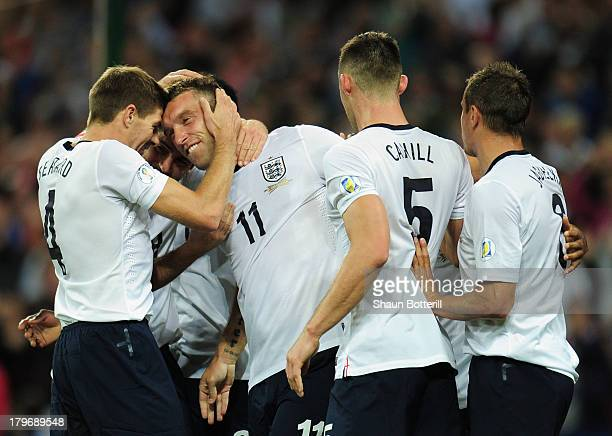 Rickie Lambert of England celebrates scoring their second goal with Steven Gerrard of England during the FIFA 2014 World Cup Qualifying Group H match...