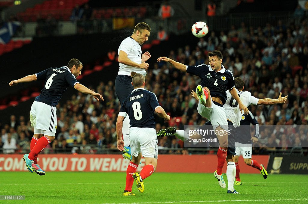 Rickie Lambert of England (2nd L) scores a goal during the International Friendly match between England and Scotland at Wembley Stadium on August 14, 2013 in London, England.
