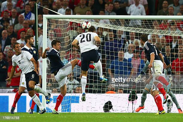 Rickie Lambert of England scores a goal during the International Friendly match between England and Scotland at Wembley Stadium on August 14 2013 in...