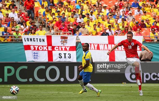 Rickie Lambert of England scores their second goal during the International friendly match between England and Ecuador at Sun Life Stadium on June 4...