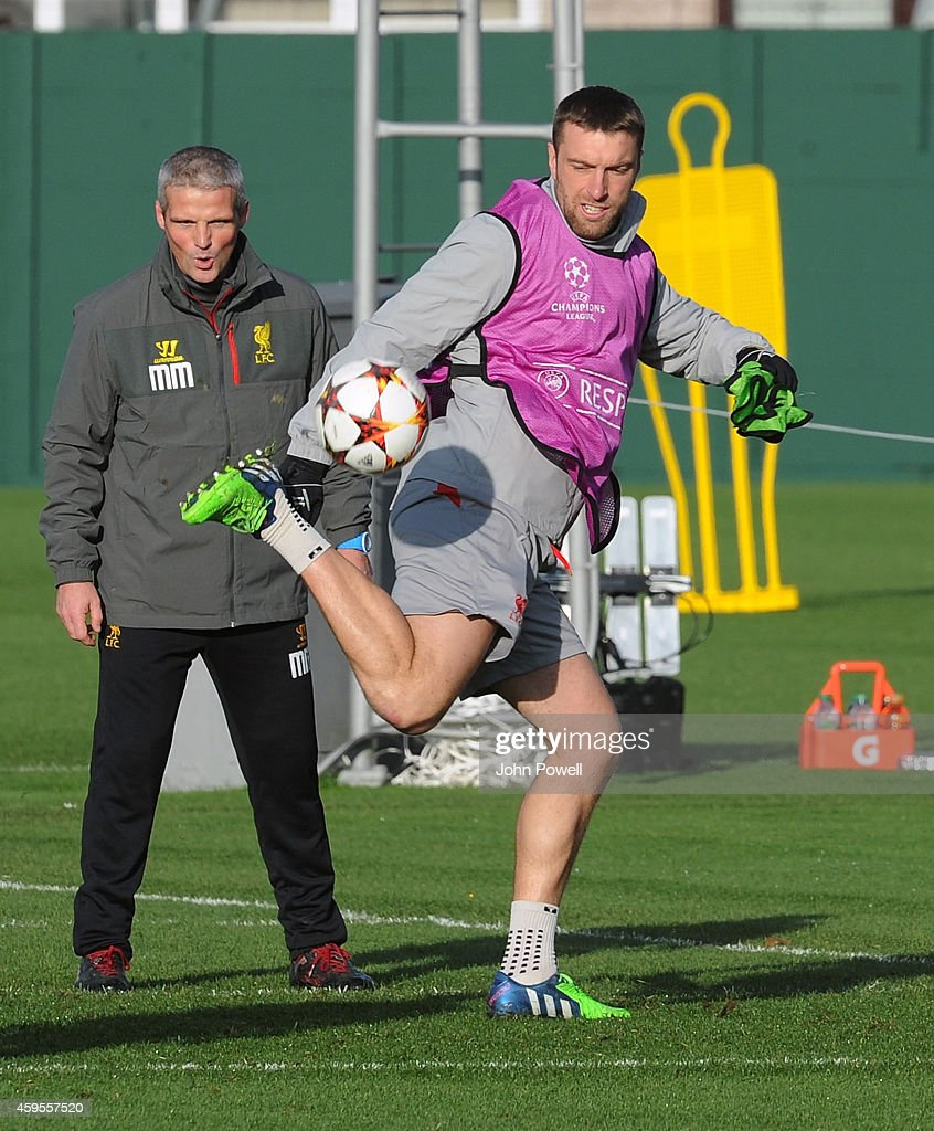 Rickie Lambert of Liverpool during a training session prior the match between PFC Ludogorets Razgrad and Liverpool at Melwood Training Ground on November 25, 2014 in Liverpool, England.