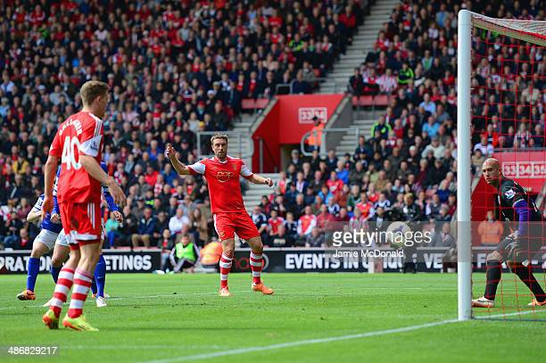 Rickie Lambert of Southampton and Tim Howard of Everton look on as Seamus Coleman of Everton scores an own goal during the Barclays Premier League...