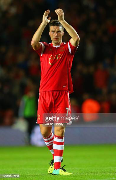 Rickie Lambert of Southampton applauds the fans at the final whistle during the Barclays Premier League match between Southampton and Fulham at St...