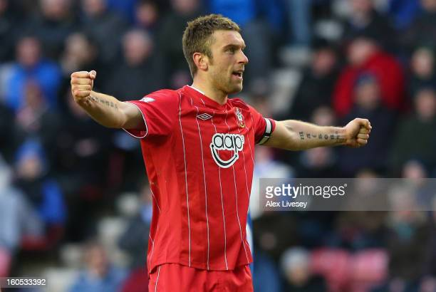 Rickie Lambert of Southampton celebrates after scoring his goal during the Barclays Premier League match between Wigan Athletic and Southampton at DW...