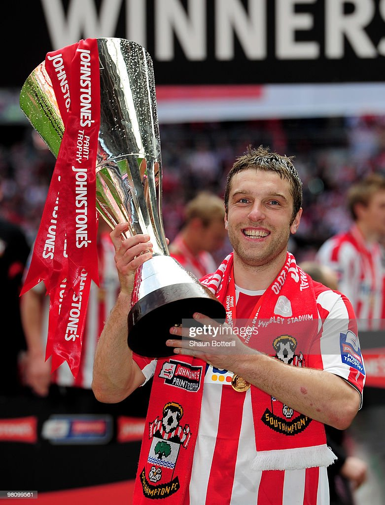 Rickie Lambert of Southampton celebrates after winning the Johnstone's Paint Trophy Final between Southampton and Carlisle United at Wembley Stadium on March 28, 2010 in London, England.