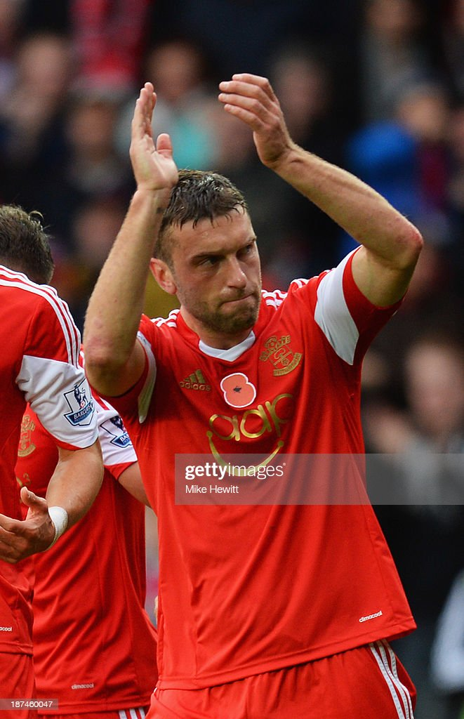 Rickie Lambert of Southampton celebrates as he scores from a penalty kick during the Barclays Premier League match between Southampton and Hull City at St Mary's Stadium on November 9, 2013 in Southampton, England.