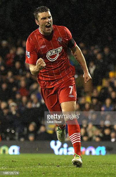 Rickie Lambert of Southampton celebrates his goal during the Barclays Premier League match between Fulham and Southampton at Craven Cottage on...