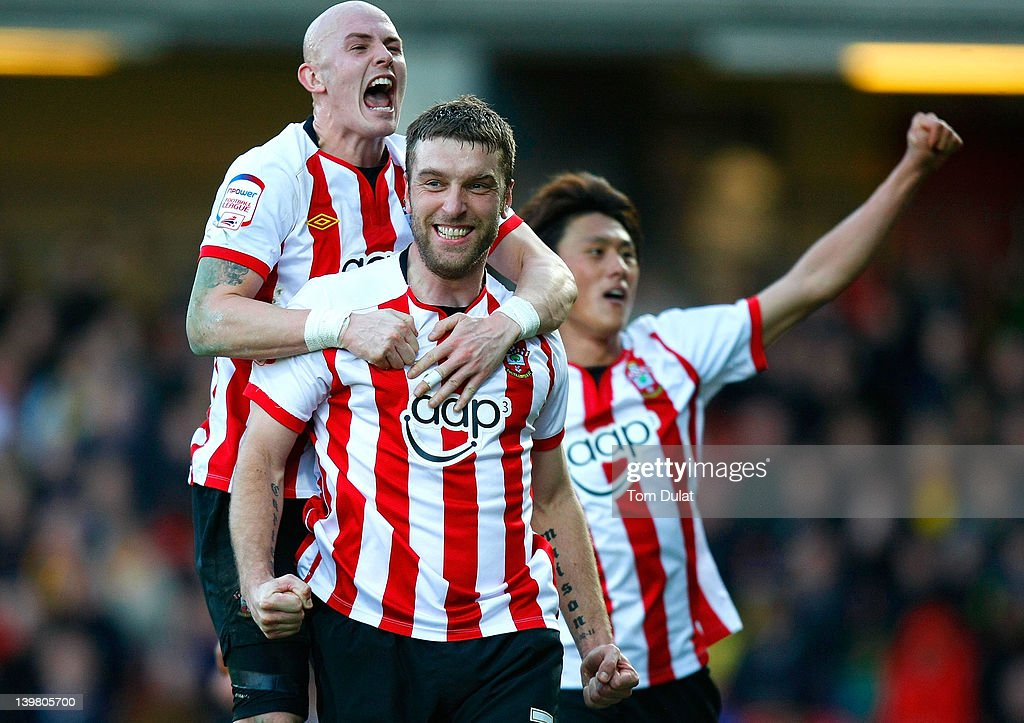 Rickie Lambert (R) of Southampton celebrates his third goal with Richard Chaplow (L) during the npower Championship match between Watford and Southampton at Vicarage Road on February 25, 2012 in Watford, England.