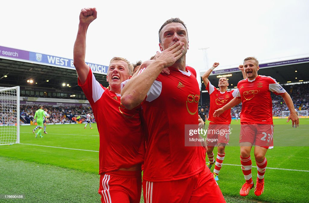Rickie Lambert of Southampton celebrates scoring the winning goal from a penalty during the Barclays Premier League match between West Bromwich Albion and Southampton at The Hawthorns on August 17, 2013 in West Bromwich, England.