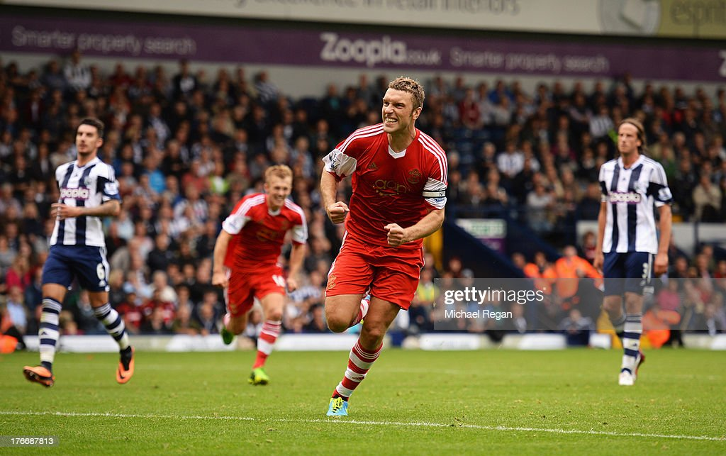 Rickie Lambert of Southampton celebrates scoring the winning goal during the Barclays Premier League match between West Bromwich Albion and Southampton at The Hawthorns on August 17, 2013 in West Bromwich, England.