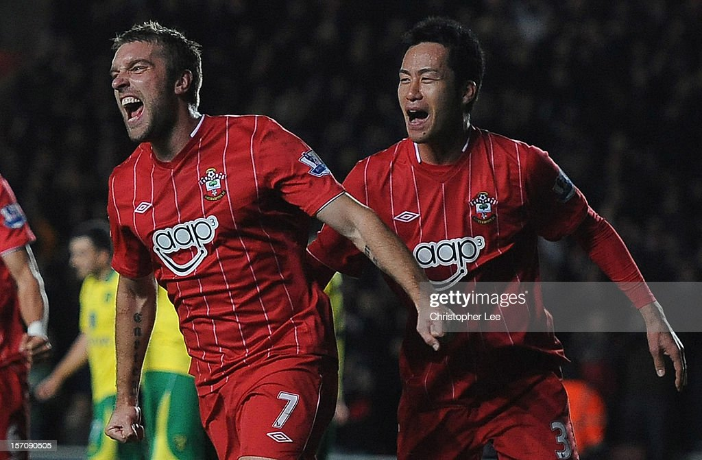 Rickie Lambert of Southampton celebrates scoring their first goal with Maya Yoshida during the Barclays Premier League match between Southampton and Norwich City at St Mary's Stadium on November 28, 2012 in Southampton, England.