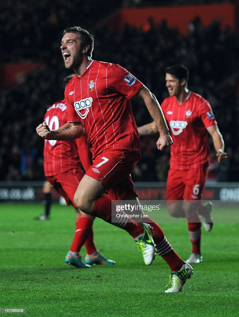 Rickie Lambert of Southampton celebrates scoring their first goal during the Barclays Premier League match between Southampton and Norwich City at St Mary's Stadium on November 28, 2012 in Southampton, England.