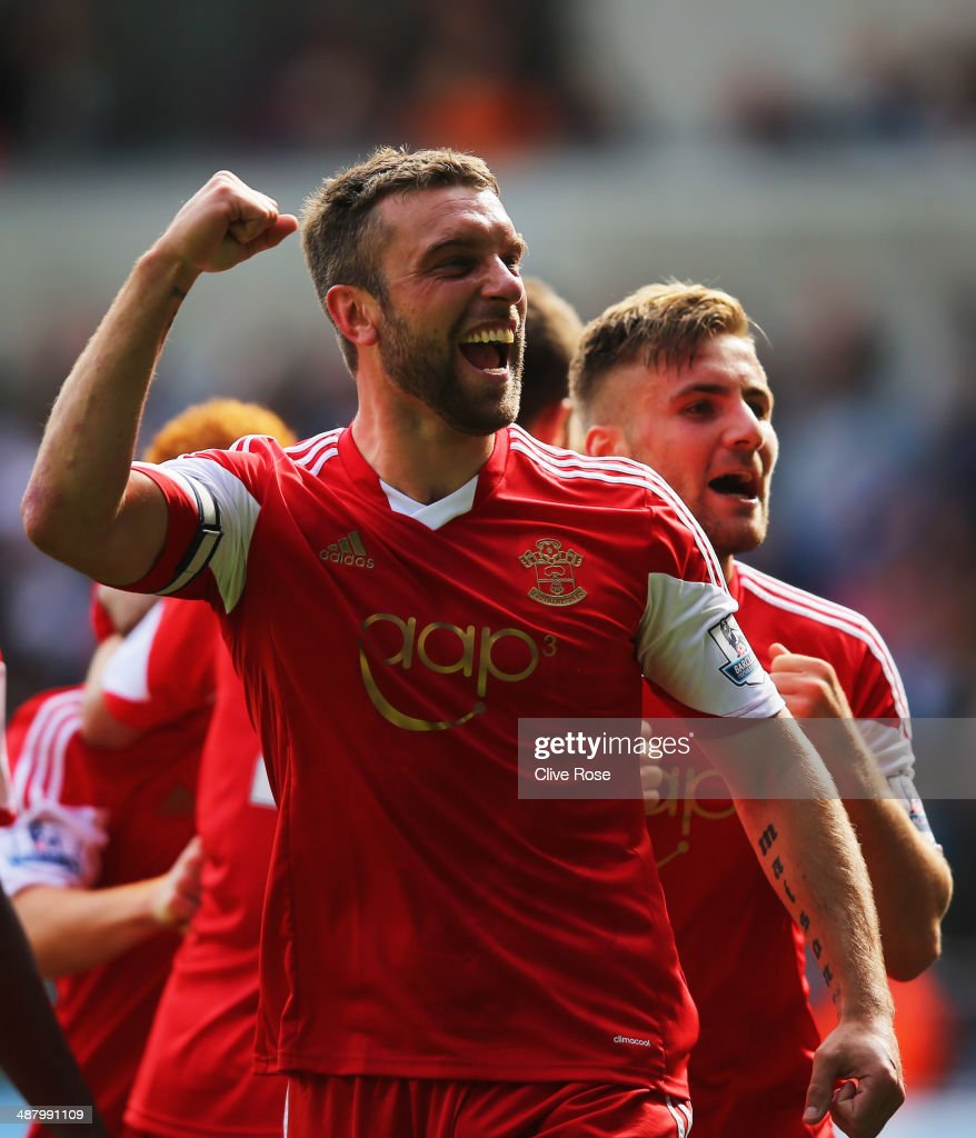 Rickie Lambert of Southampton celebrates with Luke Shaw (R) as he scores their first goal during the Barclays Premier League match between Swansea City and Southampton at Liberty Stadium on May 3, 2014 in Swansea, Wales.