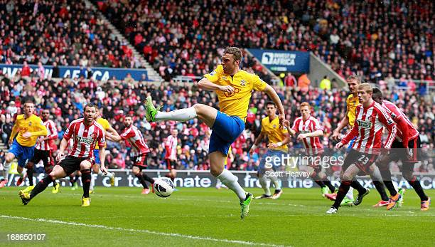 Rickie Lambert of Southampton in action during the Barclays Premier League match between Sunderland and Southampton at the Stadium of Light on May 12...