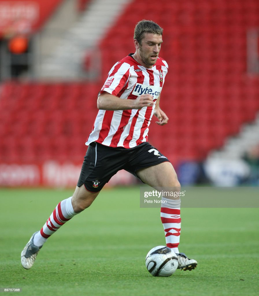 Rickie Lambert of Southampton runs with the ball during the Carling Cup Round One Match between Southampton and Northampton Town at St Mary's Stadium on August 11, 2009 in Southampton, England. Southampton won the match 2-0.