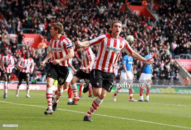 Rickie Lambert of Southampton score against Portsmouth during the FA Cup sponsored by E.ON fifth round match between Southampton and Portsmouth at St...