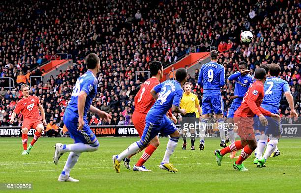 Rickie Lambert of Southampton scores his team's second goal with a free kick during the Barclays Premier League match between Southampton and Chelsea...
