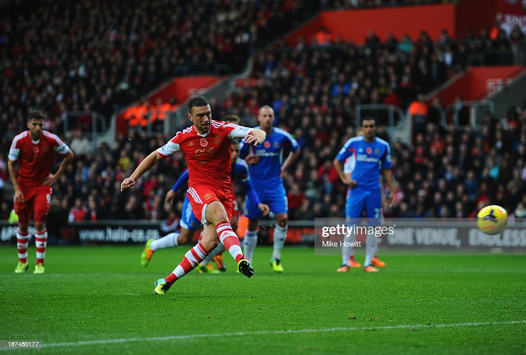 Rickie Lambert of Southampton scores their second goal from a penalty kick during the Barclays Premier League match between Southampton and Hull City at St Mary's Stadium on November 9, 2013 in Southampton, England.