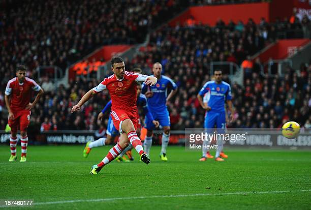 Rickie Lambert of Southampton scores their second goal from a penalty kick during the Barclays Premier League match between Southampton and Hull City...