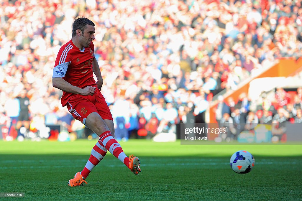 Rickie Lambert of Southampton scores their secons goal during the Barclays Premier League match between Southampton and Norwich City at St Mary's Stadium on March 15, 2014 in Southampton, England.