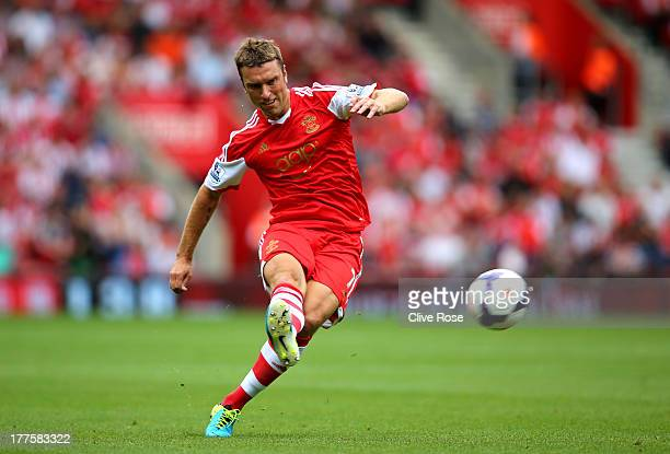 Rickie Lambert of Southampton takes a free kick during the Barclays Premier League match between Southampton and Sunderland at St Mary's Stadium on...