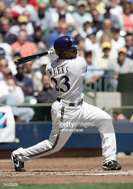 Rickie Weeks of the Milwaukee Brewers swings at the pitch against the St Louis Cardinals May 2 2007 at Miller Park in Milwaukee Wisconsin The Brewers...
