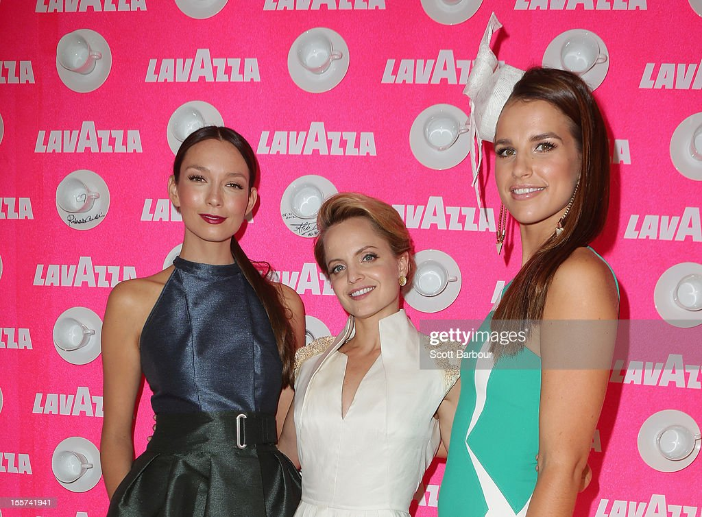 Ricki-Lee Coulter, Mena Suvari and Vogue Williams attend the Lavazza marquee on Crown Oaks Day at Flemington Racecourse on November 8, 2012 in Melbourne, Australia.