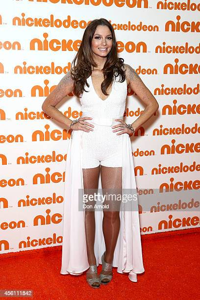 RickiLee Coulter poses on the media wall ahead of the Nickelodeon Slimefest 2014 matinee show at Sydney Olympic Park Sports Centre on September 26...
