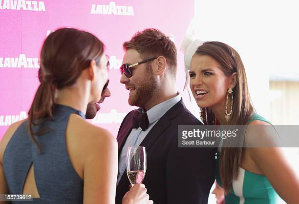 RickiLee Coulter Vogue Williams and Brian McFadden attend the Lavazza marquee on Crown Oaks Day at Flemington Racecourse on November 8 2012 in...