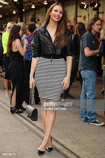 RickiLee Coulter wearing Bec Bridge skirt Jimmy Choo shoes Chanel handbag and Maticevski blazer attends MercedesBenz Fashion Week Australia 2014 at...