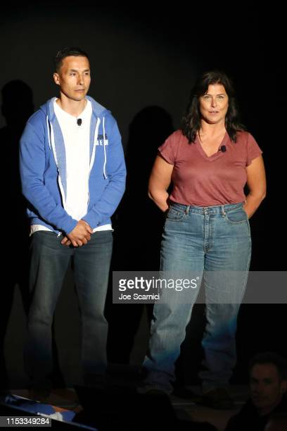 Ricko DeWilde and Sue Aikens speak onstage during National Geographic's Contenders Showcase at The Greek Theatre a oneofakind outdoor experience and...