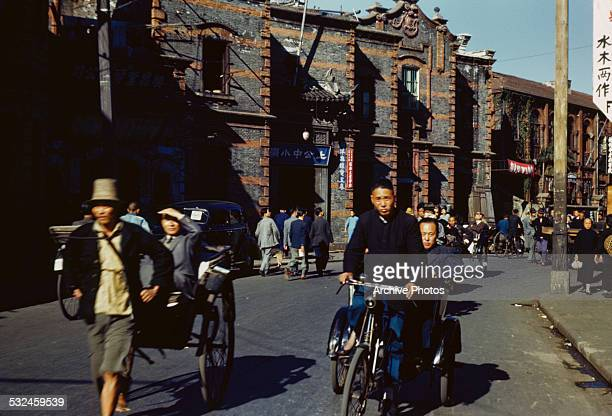A rickshaw and cycle rickshaw in Shanghai China 8th November 1945