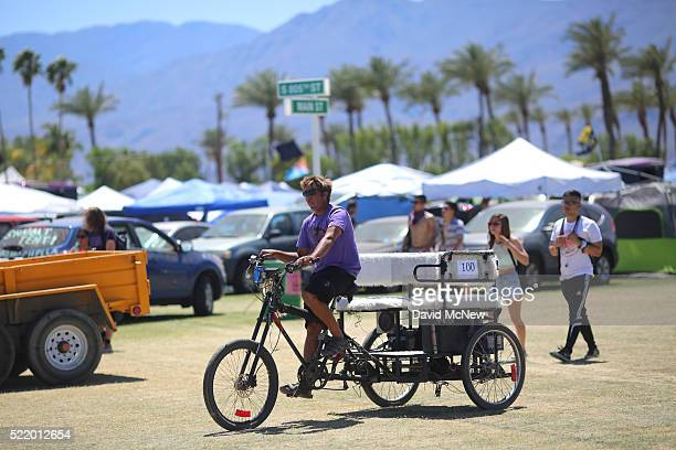 Rickshaw driver is seen in the campground during day 3 of the 2016 Coachella Valley Music And Arts Festival Weekend 1 at the Empire Polo Club on...