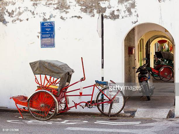 rickshaw in george town, malaysia - george town penang stock photos and pictures
