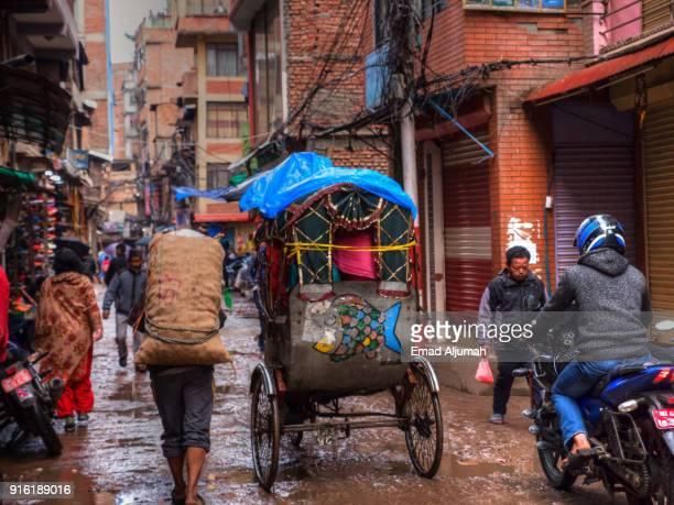 Rickshaw in Kathmandu, Nepal - March 11, 2017